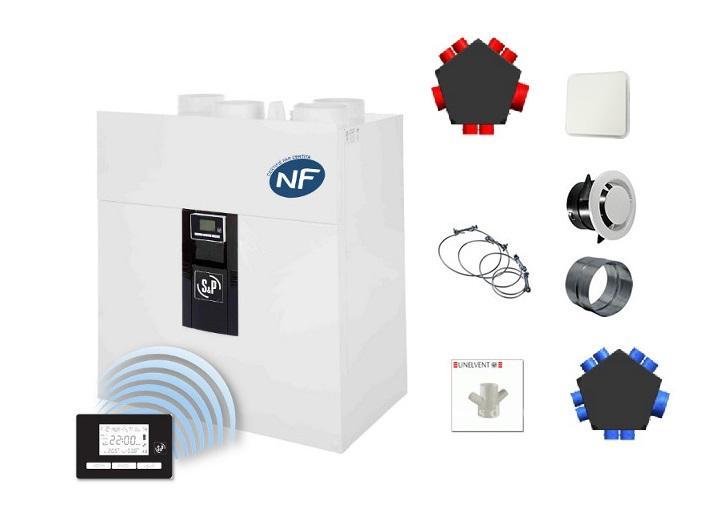 Nouvel UNELVENT Kits VMC IDEO 325 Ecowatt Radio - Ventilation double flux PI-72