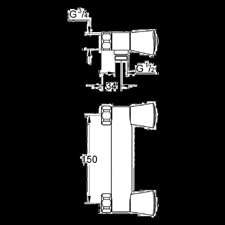 Gr/ünblatt mitigeur edelstral flexible de douche de 150 cm eN chrome double lock 1113